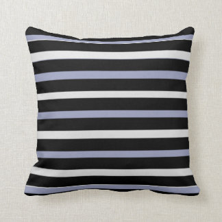 Modern blue gray black white horizontal stripes cushion