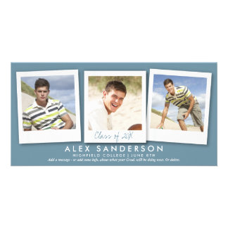 Modern Blue Gray Instant Style Photo Graduation Personalised Photo Card
