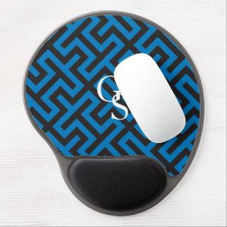 Modern blue greek key geometric patterns monogram gel mouse mat