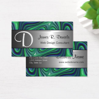 Modern Blue Green 3D Liquid Swirls Pattern Business Card