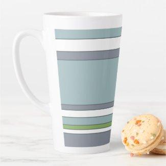 Modern Blue Green and Grey Stripes Latte Mug