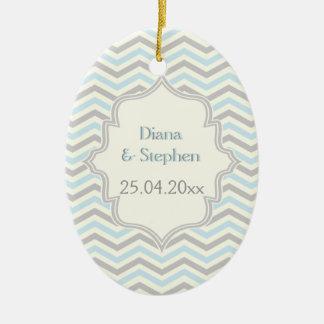 Modern blue, grey, ivory chevron pattern custom ceramic oval decoration