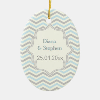 Modern blue, grey, ivory chevron pattern custom christmas ornament