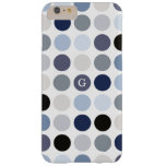 modern blue grey polka dots pattern monogram