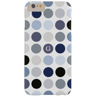 modern blue grey polka dots pattern monogram barely there iPhone 6 plus case