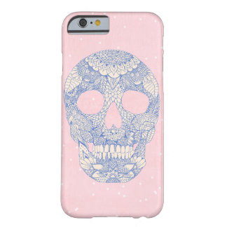 Modern blue hand drawn skull floral lace mandala barely there iPhone 6 case
