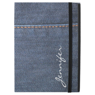 "Modern blue Jeans denim look monogram name iPad Pro 12.9"" Case"