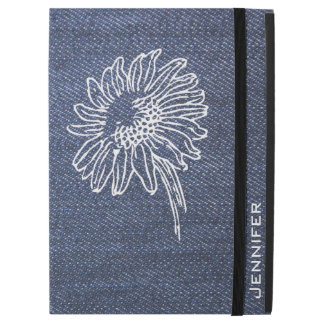 "Modern blue Jeans denim style sunflower name iPad Pro 12.9"" Case"