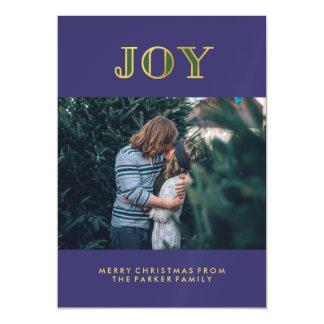 Modern Blue Jewel Tone Christmas Joy with Photo Magnetic Invitations