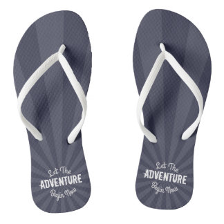Modern Blue Let The Adventure Begin Now Starburst Flip Flops