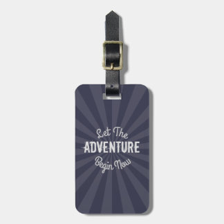 Modern Blue Let The Adventure Begin Now Starburst Tag For Bags