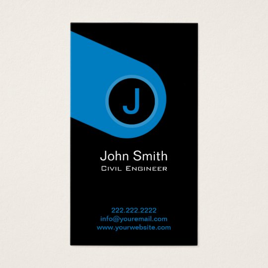 Modern Blue Monogram Civil Engineer Business Card