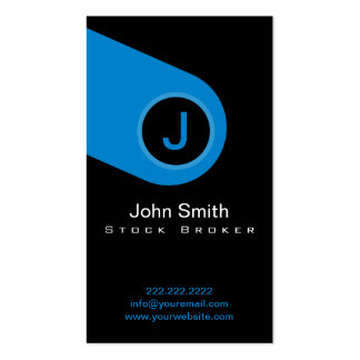 Modern Blue Monogram Stock Broker Business Card