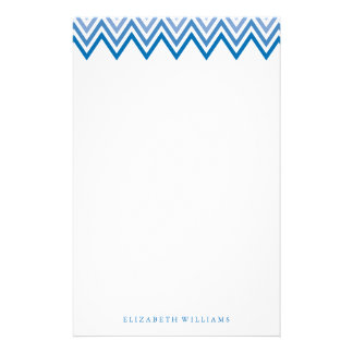 Modern Blue Ombre Chevrons Stationery