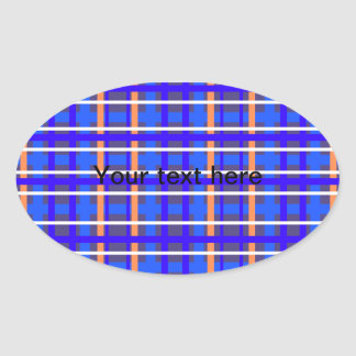 Modern blue orange plaid oval sticker