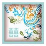 Modern Blue Phoenix Chinese Wedding Invitation