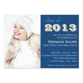 Modern Blue Photo Graduation Invitation