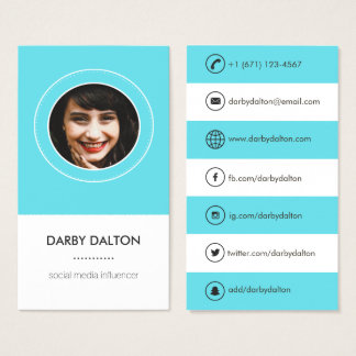 Modern Blue Photo Social Media Business Card