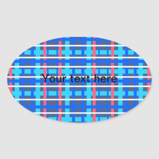 Modern blue pink plaid oval stickers