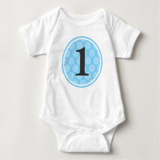 Modern Blue Polka Dot First Birthday Boy Number 1 Baby Bodysuit