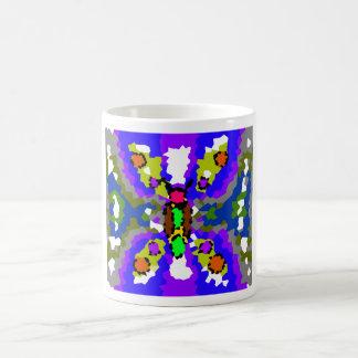 Modern blue purple and gray crystallized butterfly basic white mug