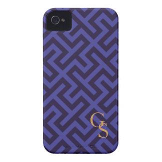 Modern blue purple geometric patterns monogram Case-Mate iPhone 4 cases