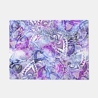 Modern blue purple hand drawn floral bohemian doormat