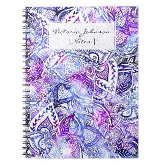 Modern blue purple hand drawn floral bohemian notebooks