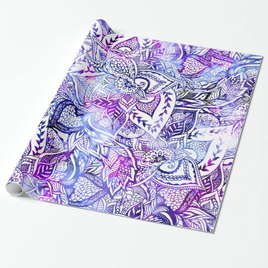 Modern blue purple hand drawn floral boho wrapping