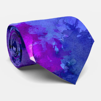 Modern blue purple watercolor brushstrokes tie
