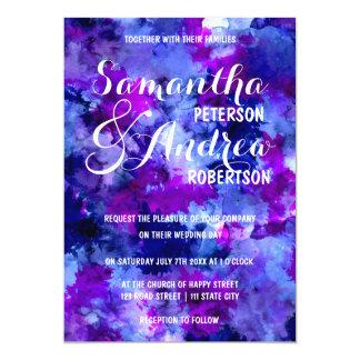 Modern blue purple watercolor Wedding 13 Cm X 18 Cm Invitation Card
