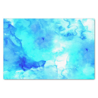Modern blue sea hand painted watercolor tissue paper
