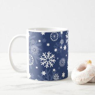 Modern Blue Snowflake Christmas Coffee Mug