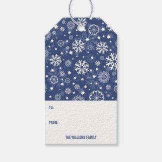 Modern Blue Snowflake Christmas Holiday Gift Tag