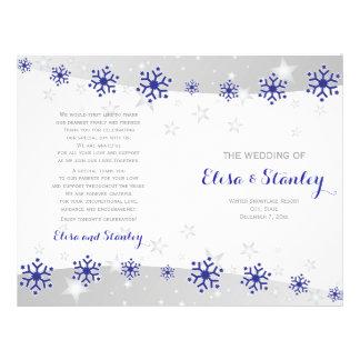 Modern blue snowflakes folded wedding program 21.5 cm x 28 cm flyer