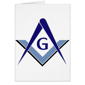 Modern Blue Square & Compasses Card