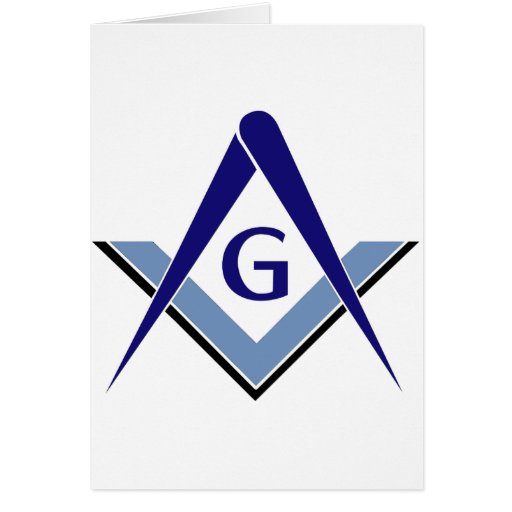 Modern Blue Square & Compasses Greeting Cards