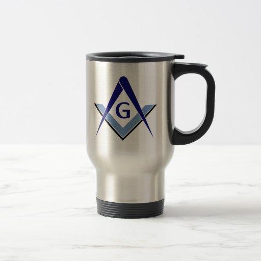 Modern Blue Square & Compasses Coffee Mugs