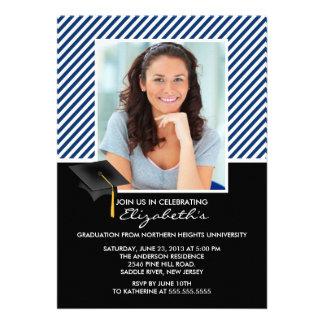 Modern Blue Stripe Graduation Party Announcement