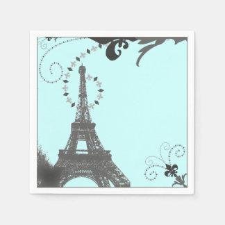 modern  blue swirls vintage Paris Eiffel Tower Disposable Serviette