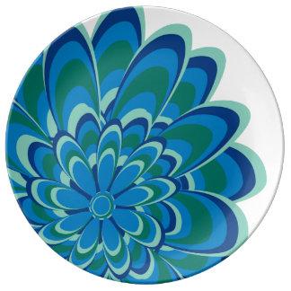 Modern Blue, Teal, Green Daisy Plate Porcelain Plates
