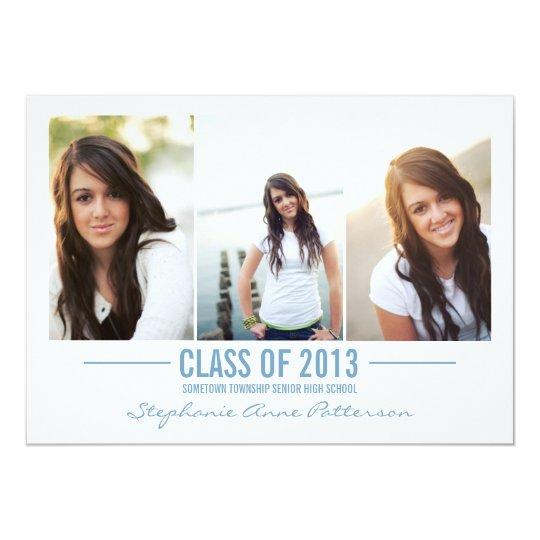 Modern Blue Three Photo Graduation Announcement