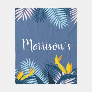 Modern blue tropical paradise monogram fleece blanket