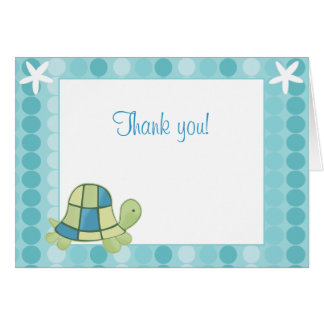 Modern Blue Turtle Bay Note Card Thank you note