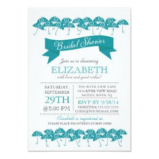 Modern Blue Umbrella Bridal Shower Card