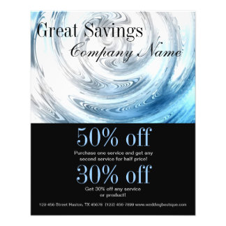 modern blue water abstract business promotional 11.5 cm x 14 cm flyer