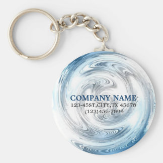 modern blue water abstract business promotional basic round button key ring