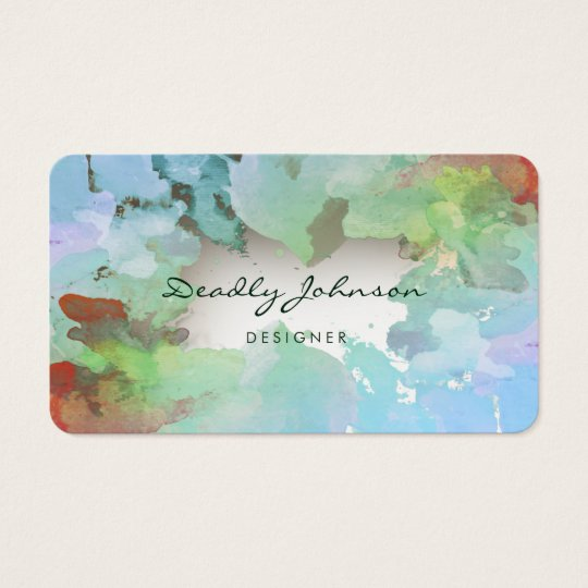Modern Blue Watercolor Abstract Elegant Cool Business Card