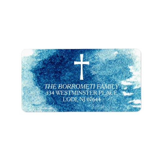 Modern Blue Watercolor Cross Return Address Address Label