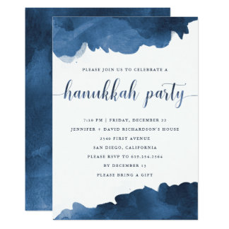 Modern Blue Watercolor | Hanukkah Party Invitation